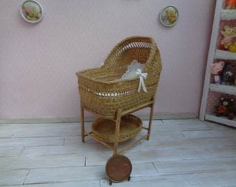 Dollhouse, Miniature Wicker baby cradle, crib, baby Bed, 1:12 scale,to order! Miniature Bed, Dollhouse Bed.