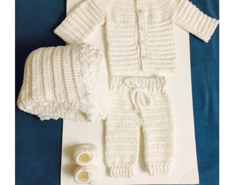 Christening crochet baby boy set-Blanket,cardigan,shoes and pant