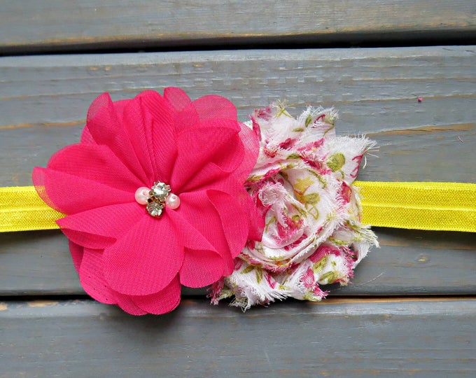 Spring Floral Headband, Baby Headband, Bright Pink Headband, Fabric Flower Headband, Baby Shower Gift, Gifts For Girls
