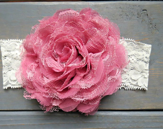 Mauve Lace Headband, baby headbands, lace headbands, Flower Girl, Wedding Bow, Pink Lace Headband, Baby Shower Gift, Baby's First Birthday,