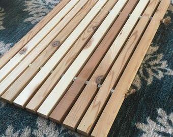 Handmade cedar wood door mat