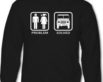 Problem Solved Defender - Mens Funny Land Rover Hoodie