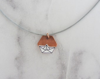Necklace with boat on copper plate/handmade/hand drawing/lines/graphic/Hexagon/copper/sailing ship/paper boat/black and white/filigree