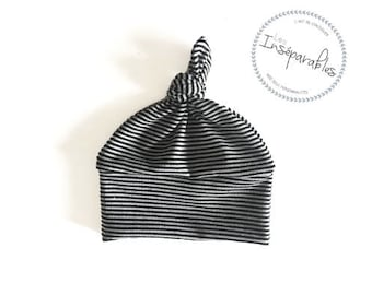 Baby bonnet; knot hats; child gift; Unisex. striped black and white