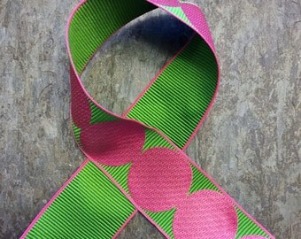 Pink and Lime Green Single Dot Grosgrain 5 yards