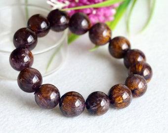 Natural Genuine Authentic Gold Purple Titanium Cacoxenite Bracelet Round Big Beads 14mm 04300