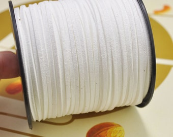 20yard 2.5mm Flat Faux Suede Leather Cord,White Leather String Cord,Faux Suede Lace,Vegan Suede Cord,bracelet/necklace cord Supplies