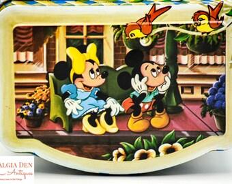 Vintage Walt Disney Tin - Mickey, Minnie, Goofy, Snow White Container