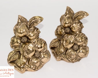 Mid Century Bookends | Cast Metal Gold Flowers | MCM Decor