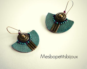 Bohemian style blue and purple earrings, half moon