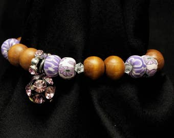 Beaded Bracelet with Jewel Charm