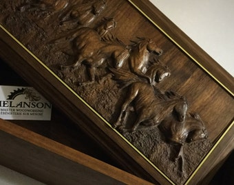 Handmade Wooden Walnut Box with Horse Carving
