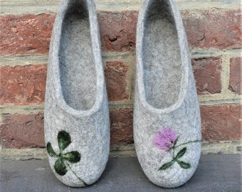 FELTED WOOL SLIPPERS women slippers grey house shoes felted slippers natural wool gift for mom design shoes four leaf clover home shoes 8.5
