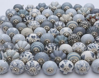 Assorted Grey and White Ceramic Door Knobs Kitchen Cabinet Drawer Pulls Handmade Handpainted Ceramic Knobs