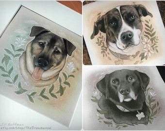 Custom Pet Portrait Painting // 5 x 5 Mixed Media // Color
