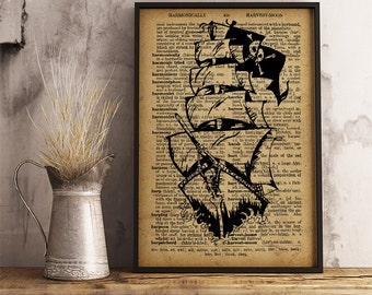 Pirate Ship Poster, Pirate ship wall art, Vintage style dictionary print, Pirate ship print, Boy's room decor (K26)