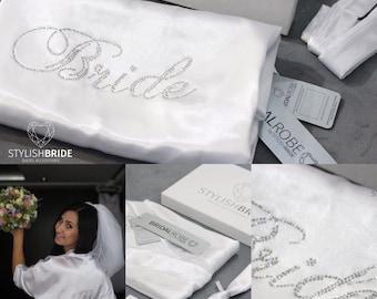 Bridal Satin Robe, Satin Bridal Robe with crystal embellished Bride on back, White Satin Wedding Robe, Satin Robe, White Bridal Robe