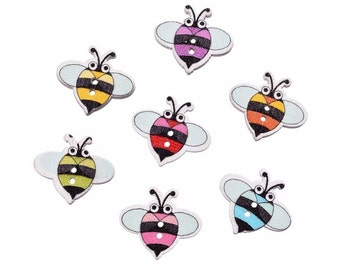 10 bee shaped wooden button