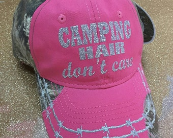 Realtree Camping Hair Don't Care Hat, Baseball and Trucker Hat