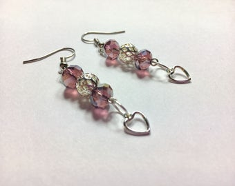 Purple Swarovski Crystal Silver Heart Dangle Earrings