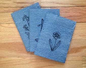 Set of 3 Hand Embroidered Floral Notebooks