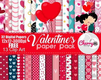 Valentine's day Digital Paper, Love, heart, romantic, Red, Scrapbook Paper,  Cute love printables, Paper, couple, Clip Art, FREE