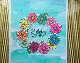 Floral birthday card, colourful card.