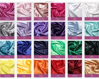 Silky satin fabric sold by the meter 150cm wide.