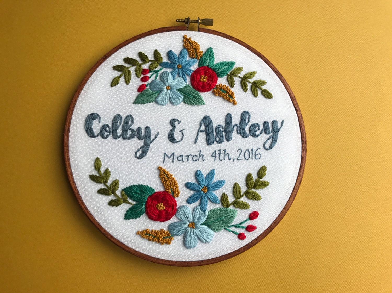 Custom embroidery wedding gift hoop art