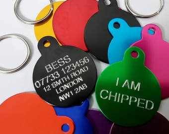 30mm Round Engraved Pet Name Tag - Name address phone chipped