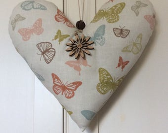 Large Handmade Shabby Chic Hanging Fabric Heart Decoration ~ Marson Butterflies Coral Fabric ~ Finished with a Wooden Flower