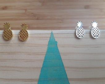 Boucles d'oreilles Ananas | doré et argenté | Joli bijou minimaliste  | Offrir BFF | Cadeau mignon pour elle | Pour tous les jours