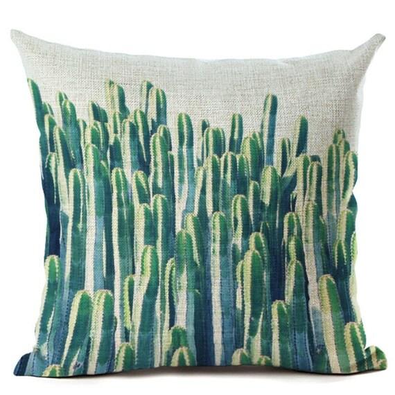 Housse de coussin d co toile de lin et coton beige cactus for Canape cactus sofa