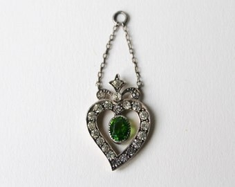 Vintage, antique Witches heart pendant. 900 silver Victorian witch's heart jewellery. Luckenbooth heart pendant.