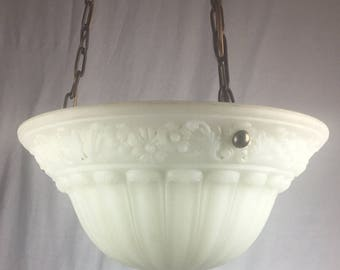 Edwardian Cast Glass Bowl Chandelier Circa 1910
