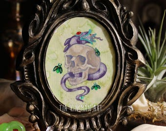Beetle Skull Original Mini Cameo Painting