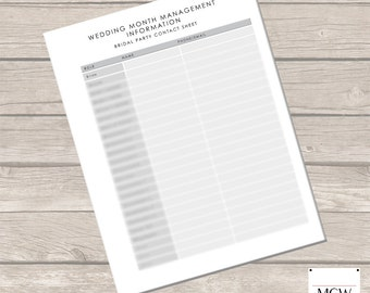 Wedding Planner Bridal Party Contact Sheet [Grey] - PDF Template -  INSTANT DOWNLOAD