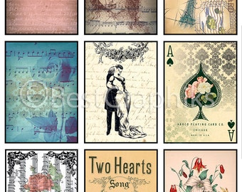 Two Hearts 9 Backgrounds Digital Collage Sheet A4 Download and Print ACEO Printables ATC Cards Vintage Tags Printable Tags Printable Labels
