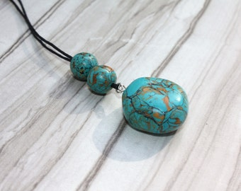 Polymer Clay Faux Stone Pendant Necklace