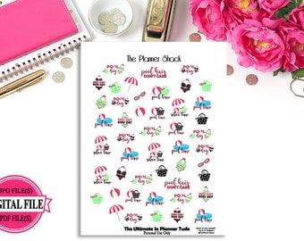 Pool Time // Printable Planner Stickers