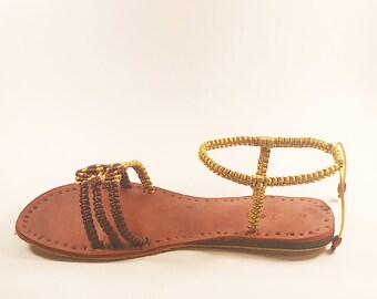Gold and Brown Woven Sandal Size 9