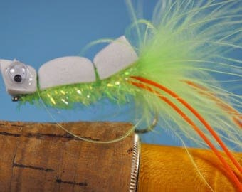"""The """"Bass Sandwich"""" fly, fly fishing fly, popper fly, Bass fly, Largemouth fly, Smallmouth fly, foam fly"""