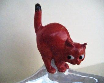 Lusterware Red Cat Ashtray / Vintage
