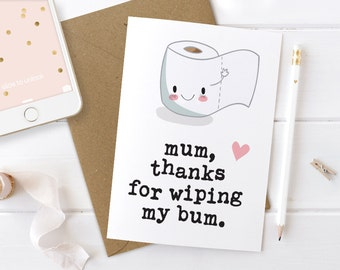 Funny Birthday Card Mum, 1st Mum Birthday, Mum Birthday Card, Birthday Card Funny, Funny Birthday Cards For Mom, Funny Thank You Card Mum