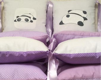 A unique set of 12 crib bumper pillows, hand-painted lazy pandas, lavender, lilac and pink