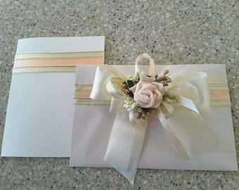 Wedding card, Elegant handmade greeting card and envelope, Money gift envelope