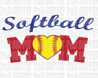 Softball Mom SVG, DXF - Digital Cut file for Cricut or Silhouette svg, dxf