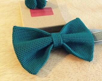 Knitting fly / crochet bow tie / BowTie crochet 100% silk, petrol / blue-green
