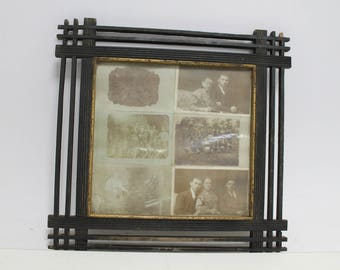 Antique Primitive Old Handmade Wooden Picture Frame