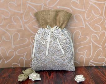 Burlap dollar dance bag with lace layer, Cottage chic wedding, Rustic wedding money bag, Burlap dollar bag, Bride Money Bag